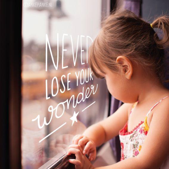 Never lose you wonder, een lieve quote #raamtekening voor de baby- of kinderkamer.