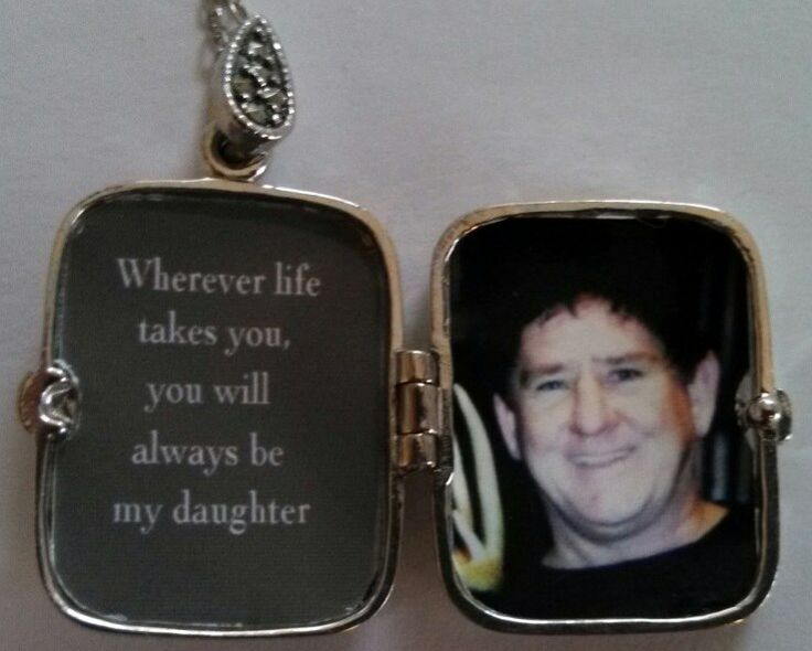 """Annette of LA encloses a picture of her husband inside her daughter's locket along with the sentiment """"Wherever life takes you, you will always be my daughter"""""""