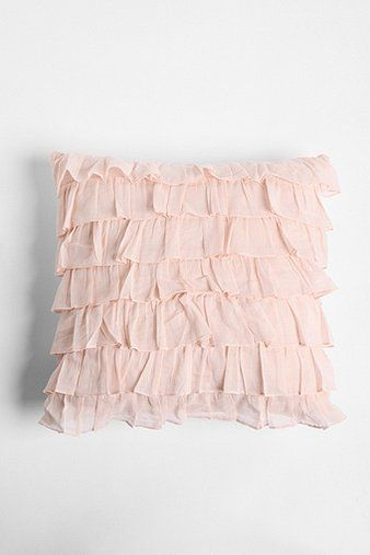 """""""Waterfall"""" ruffle pillow in pastel pink from Urban Outfitters ($40)."""