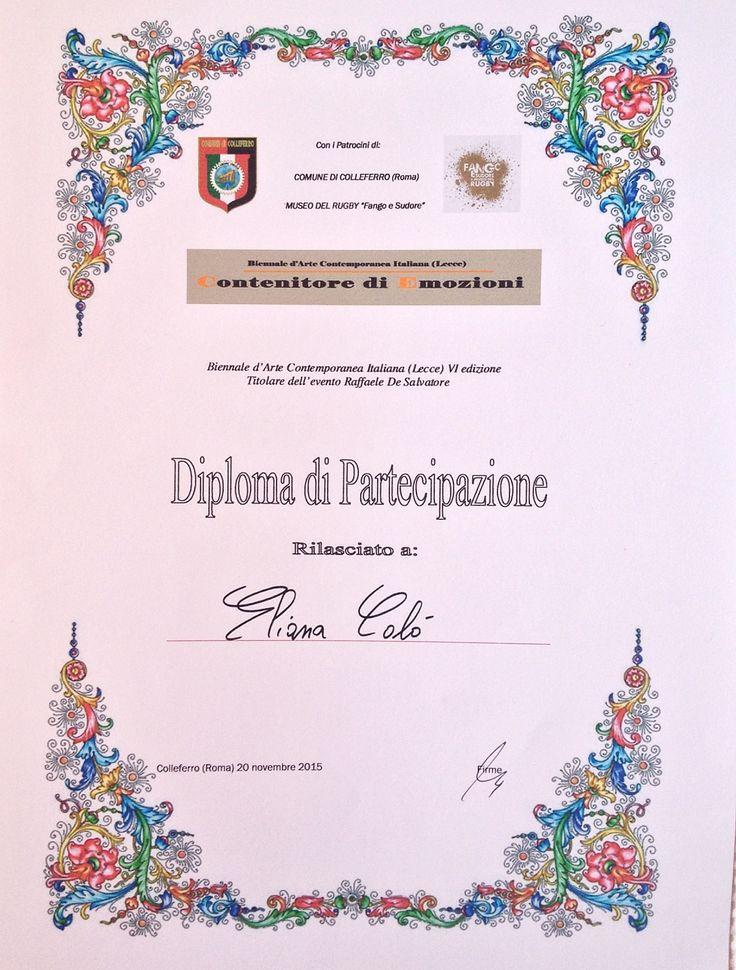 Eliana Calò - VI Edizione della Biennale d'Arte Contemporanea Italiana (Lecce) Museo del Rugby Fango e Sudore - Colleferro (RM) 20 Novembre 2015