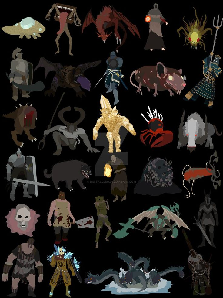 Rare enemies and mini-bosses from Dark Souls in minimal art style! Available here: www.teepublic.com/t-shirt/3332…