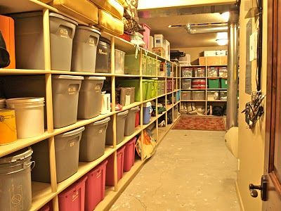 basement storage shelves...good idea for the house