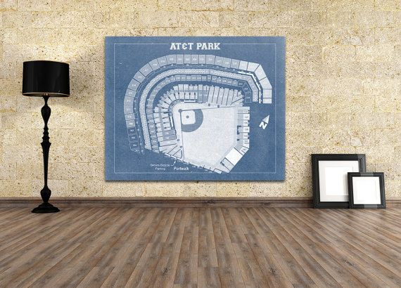 Print of Vintage AT&T Park Seating Chart San Francisco Giants Canvas Photo Matte Paper Art Diagram Sports Baseball Arena Dome Rink Decor