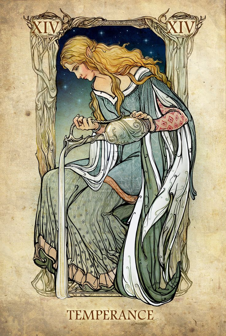 The Mirror of Galadriel - Temperance, the Lord of the Rings tarot cards by SceithAilm