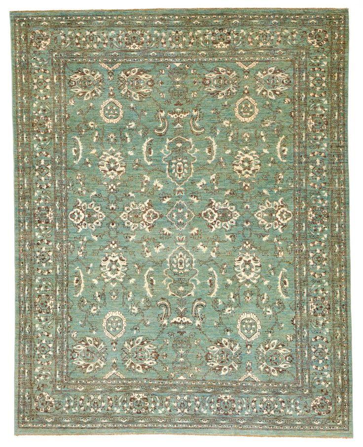 8x10 Cyan Wool & Silk Rug