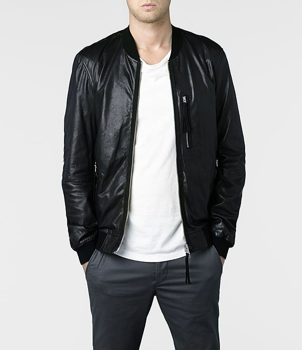 AllSaints Blenham Leather Bomber | Mens Leather Jackets | Leather