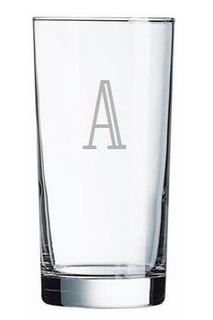 Personalized Glassware - Iced Beverage Glass etched with the couple's last name initial.