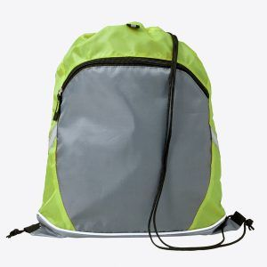 PromoBrand-Promotional drawstring sports bag.  This printed drawstring bag is made from 210D polyester, and features a large grey zipped front pocket .    Available in the following colours black/grey,red/grey, lime/grey/cobalt blue/grey. Each with a black drawstring cord.