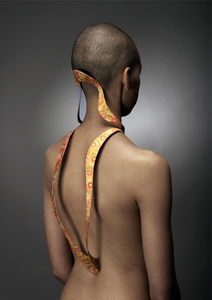 Art Jewelry, Bonnie Yiu, Artist, neck and back armature, copper wire and paper