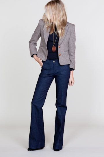 Tweed blazer + wide leg jeans = fall style perfection, via Emersonmade