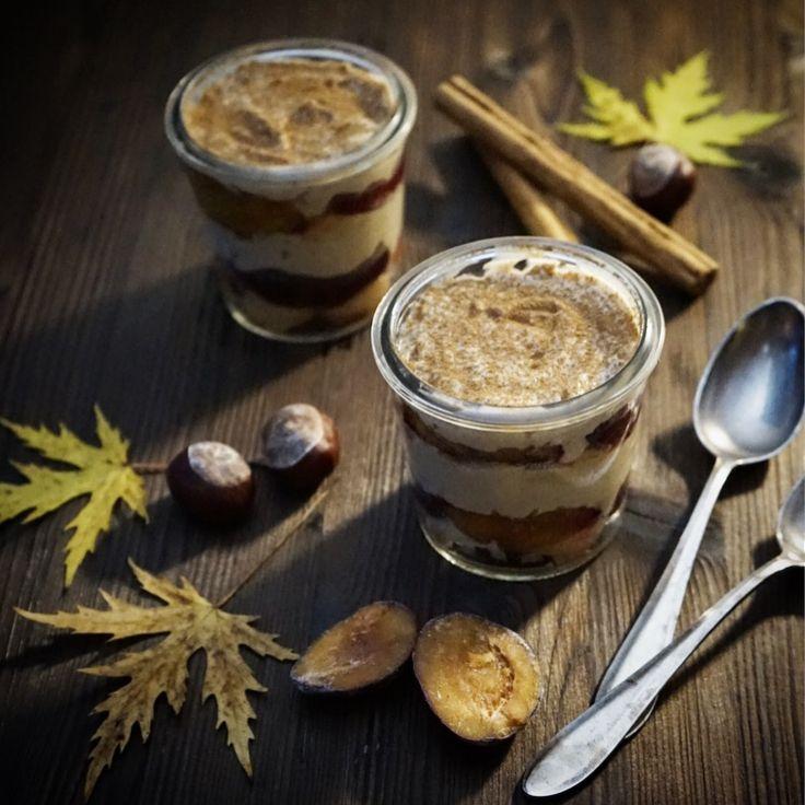 Das Marroni-Tiramisu ist ein leckeres Dessert passend zur kalten Jahreszeit und ideal geeignet für Gästemenüs, da es sich super vorbereiten lässt.