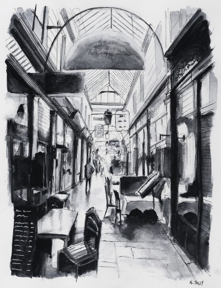 Passage des Panoramas. Paris. Black ink drawing. By Nicolas Jolly. #drawing #watercolor #painting #art