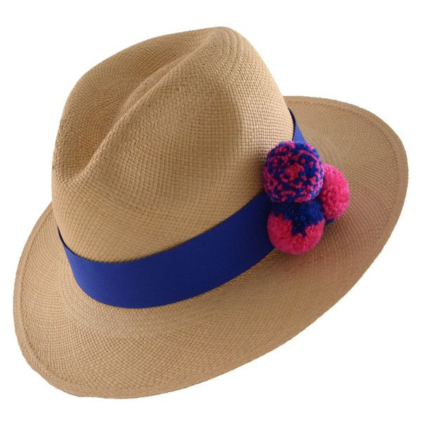 Functional and always fashionable, this Prymal hat is handmade in Ecuador. Fedora Toasted Natural Panama Hat with 3 Handmade Pompoms Blue