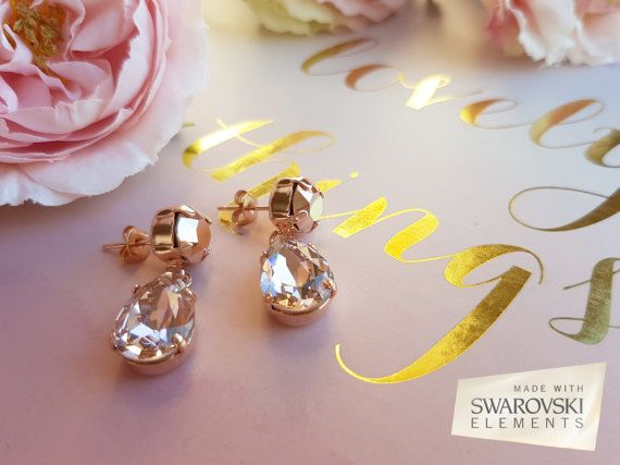 Rose gold earrings Swarovski rose gold by MagnificenceBridal