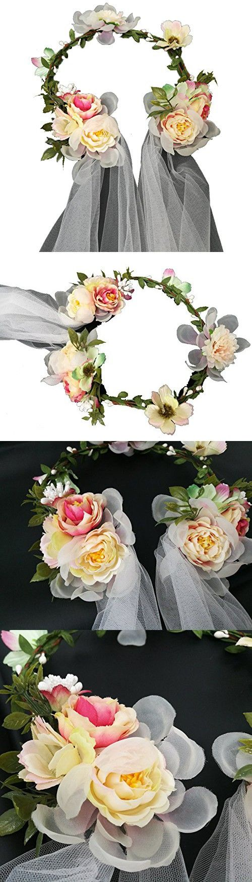 Newly arrived Rattan Flower Vine Crown Bridal Wedding Veil Flower Headpiece Wreath Veil Headband (Camellia Flower)
