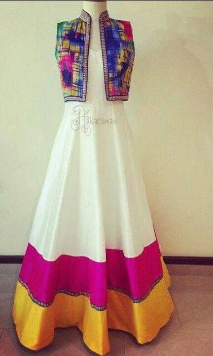 Gorgeous colourful desi dress and jacket. Indian fashion.