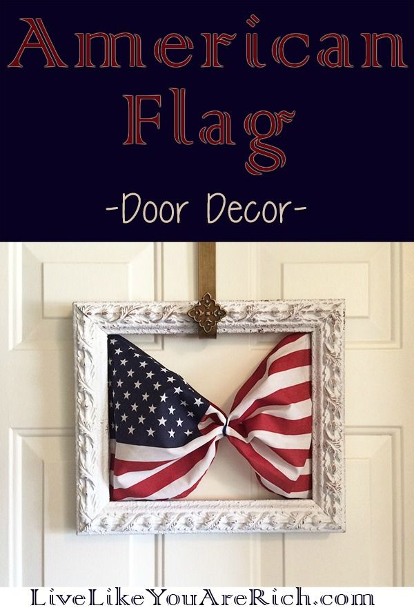 This is great door decor for the 4th of July, Memorial Day, Labor Day, and other days like 9/11 and President's Day. It is very simple and inexpensive to make.