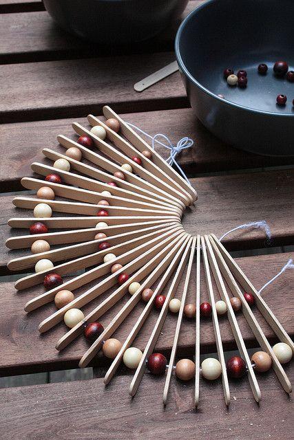 Pot Holder - using popsicle sticks & beads