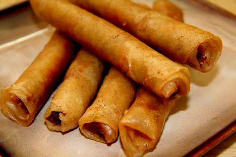 Lumpia - Shanghai.  I followed the recipe except substituted ground turkey for the ground beef/pork combo. Also, I used season salt. Turned out really great. Way better than I imagined. Everyone loved it and it was all gone so fast. Growing up my Mom had water-chestnuts and shrimp in it, too. May add some of that in a future batch. :)