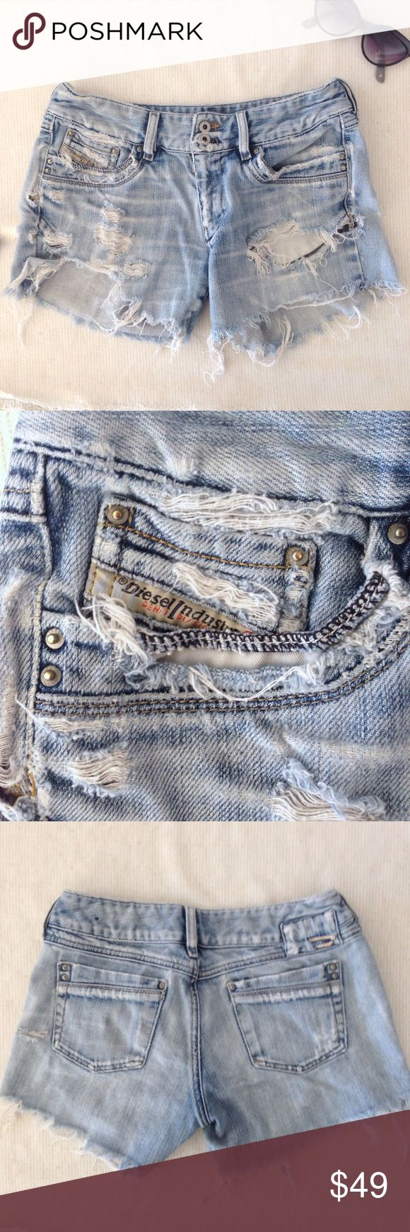 Trend!✨Diesel Super Distressed Cut Off Jean Shorts THE BEST CUT OFFS EVER! So amazing, rare & unique. 100% authentic Diesel made in Italy. Very soft, worn & have the perfect amount of distressed look. Amazing find! Offers are welcome! 🎀🌈🎀 7even Citizens Paige Vintage Levi's Hudson Diesel Shorts Jean Shorts
