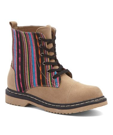 Love this Camel Contrast Stripes Boot on #zulily! #zulilyfinds
