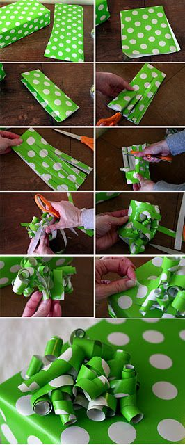 I've always made my ribbons out of just one strip of paper from the scraps! This is genius! Ribbon from wrapping paper