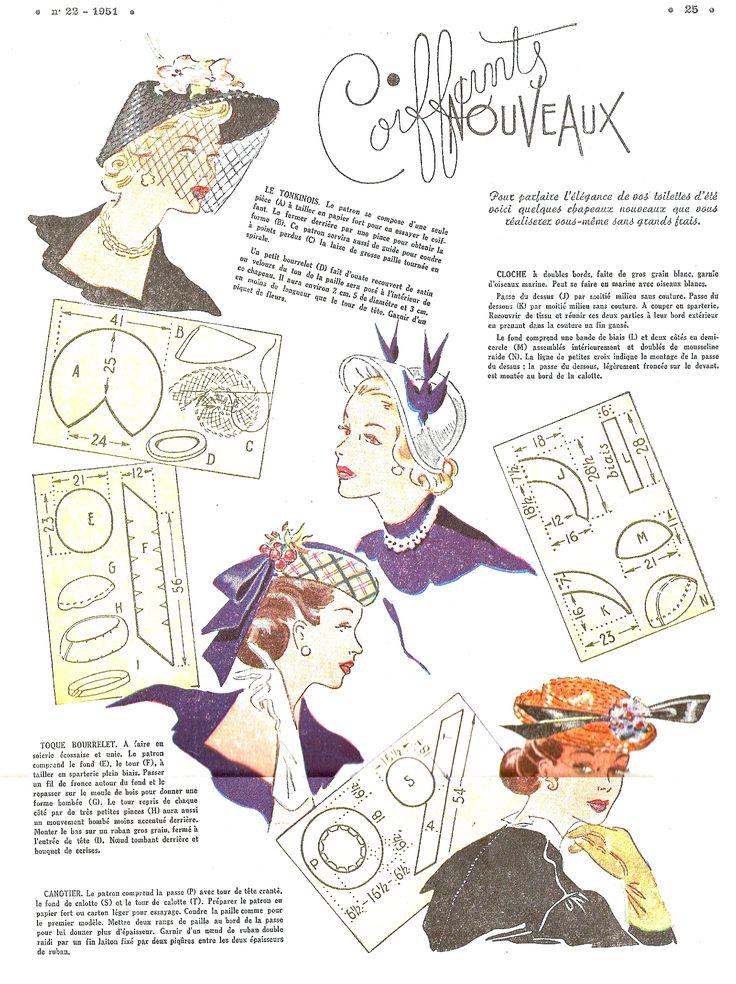 patrons chapeaux années 50