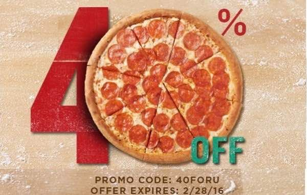 In the mood for pizza? Head to Papa John's, where you can get 40% off large and XL pizzas with promo code 40FORU! Code valid only for online orders through February 28, 2016. If you want pizza, grab this deal now!