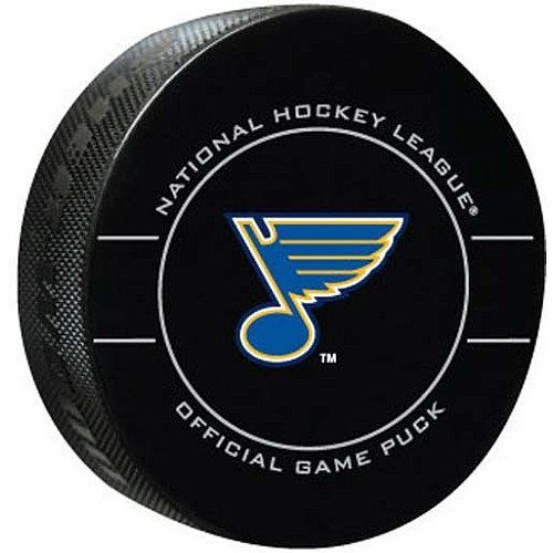 NHL St. Louis Blues Official Game Puck by Sherwood. Save 62 Off!. $5.00. A true fan should make room on the memorabilia shelf for this Sherwood® NHL® replica game puck. The officially licensed puck arrives in a durable case, and is designed with the team-colored name and logo on one side. The reverse side displays the NHL® shield and NHL® commissioner Gary Bettman's replica signature.