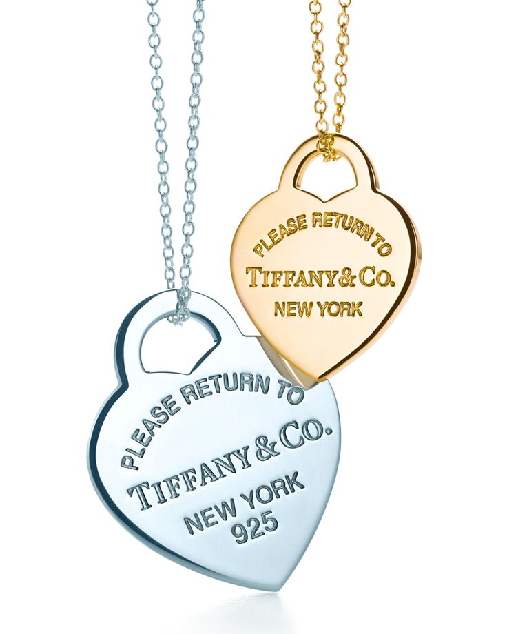 Always in a New York state of mind. Return to Tiffany® heart tag pendants in sterling silver and 18k gold.