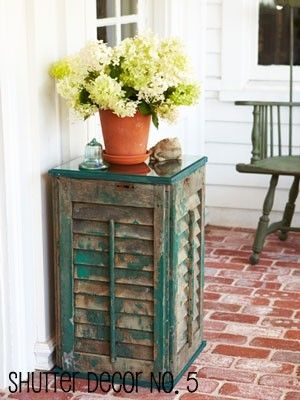 Upcycled Window Shutter ideas for side tables in the living room