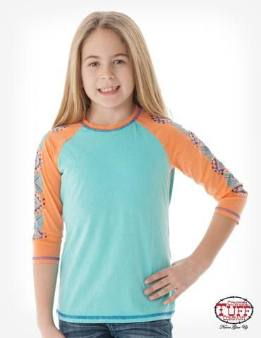 Cowgirl Tuff Kids Girls Turquoise 100% Cotton Tee Aztec 3/4S