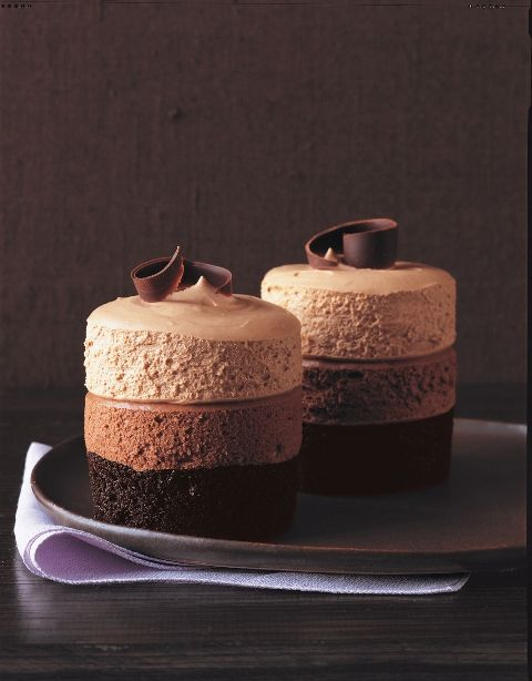 Triple chocolate mousee cakes