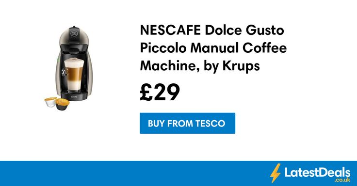 NESCAFE Dolce Gusto Piccolo Manual Coffee Machine, by Krups Titanium Save £50.50, £29 at Tesco