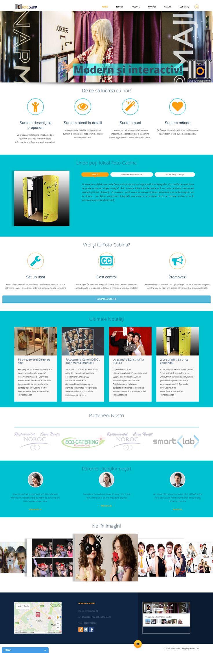 Smart Lab a realizat un website full responsive (pentru toate dispozitivele) , peste 20 de pagini, meniu divizat pe categorii, magazin online inclus, pentru mai multe detalii accesați: http://fotocabina.md/