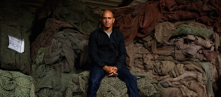 Kelly Slater visiting the ECONYL® Regeneration plant. Here, among other waste, old fishing nets recovered from all over the world are regenerated into ECONYL® nylon yarn, the material used for the new Evolution Series by Outerknown.  #sustainablefashion #sustainability #outerknown #menswear #kellyslater