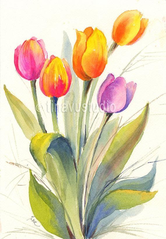Tulip Art Tulip Painting Tulip Watercolor Spring Flower Watercolor Flowers Watercolor Original Watercolor Tulips Tulips Art Tulip Painting