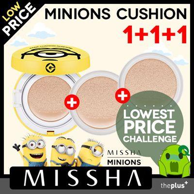 Qoo10   ★misshaa★Minions Cushion 1+1+1 / ミニオンズマジッククッション本品1個+リフィル2個/モイスチャークッション... : コスメティック
