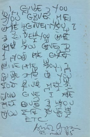 briongysin:  I Give You/You Give Me by Brion Gysin, made during an LSD trip with John Giorno, May 28, 1965