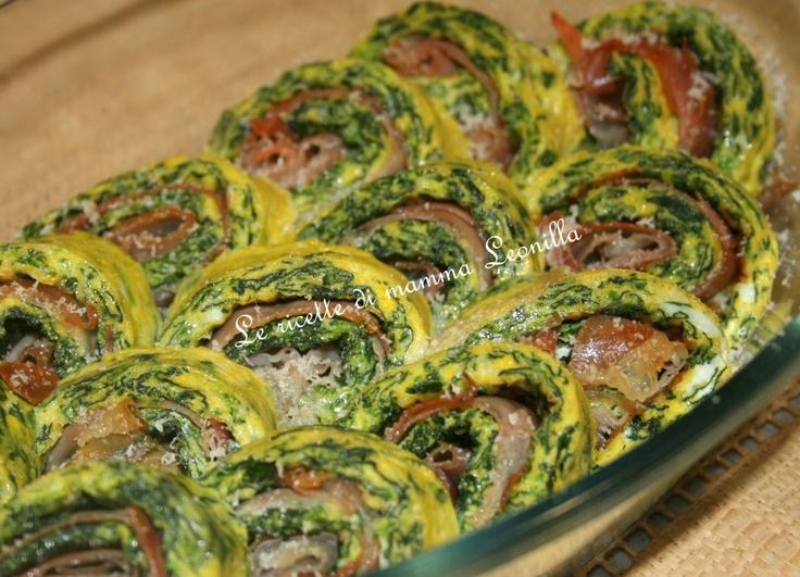 girelle di frittata agli spinaci  e orosciutto al forno