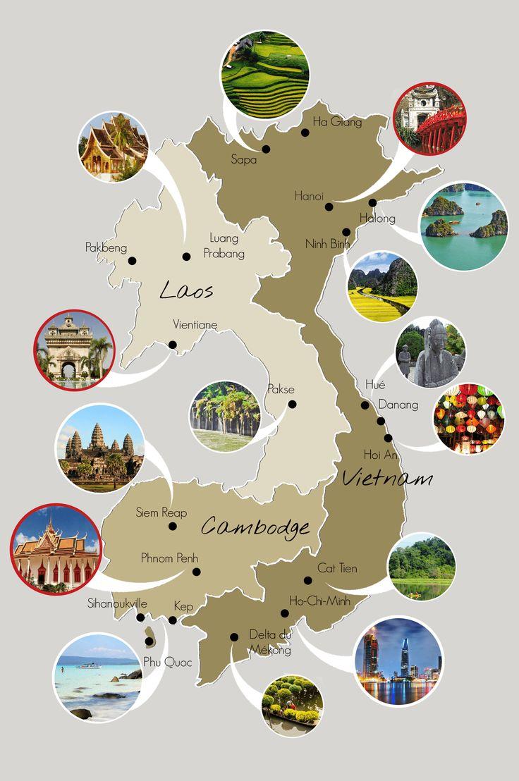 Découvrez notre carte du Vietnam, du Cambodge et du Laos pour préparer au mieux votre voyage.