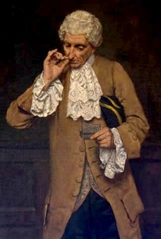 Painting of a man taking snuff using the thumb and index finger method. Schnupfer corrected.jpg