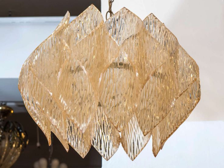 Mid-Century Kalmar Style Chandelier with a Folded Amber Acrylic Shade 3