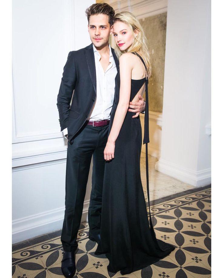 """Милош Бикович и Саша Лусс на ужине #voguefarfetch .Саша в #maisonbohemique #bohemique"""