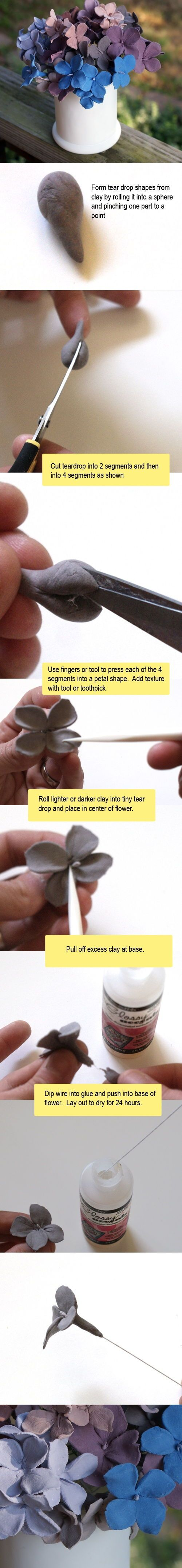 DIY Clay Hydrangeas Flower