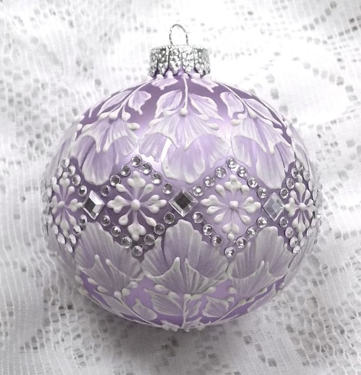 Lavender Hand Painted White MUD Texture Floral Design Ornament with Rhinestones 305 by MargotTheMUDLady on Etsy SOLD!!!!!!!!!!!