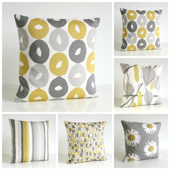 Mustard Pillow Cover Yellow and Gray Pillow Sham Yellow and