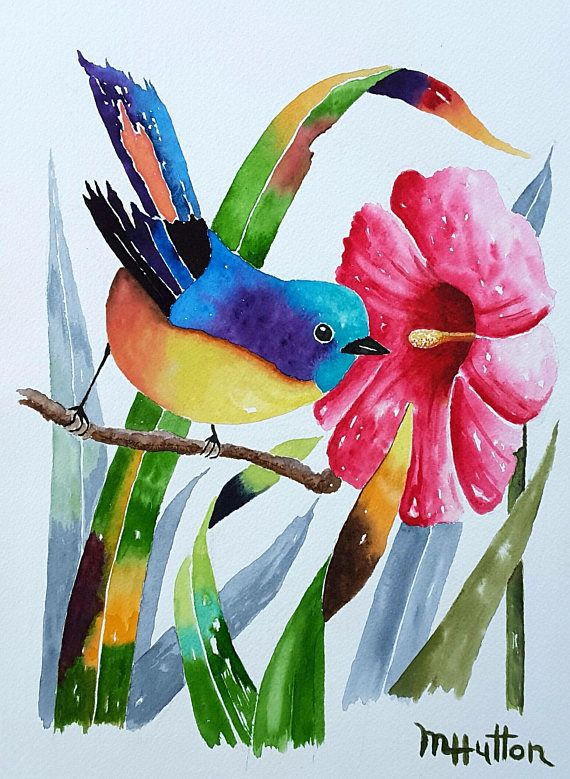 Original Watercolor Bird Painting Birds Flowers Bird Birds