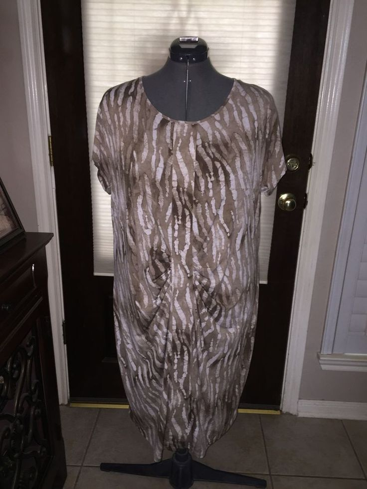 Women's Beige Tan Plus Size 2X Stretchy Dress by Peter Nygard  #PeterNygrd #Casual