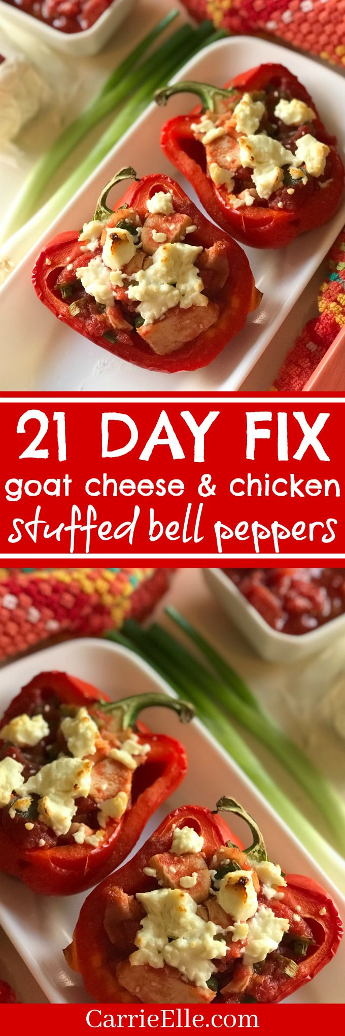 21 Day Fix Stuffed Bell Peppers with Chicken and Goat Cheese (great way to use leftover or rotisserie chicken!)